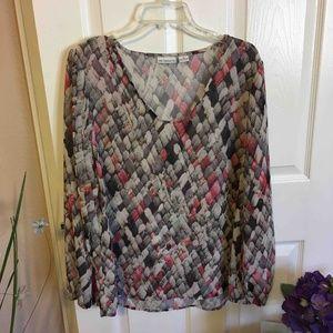 Liz Claiborne Gray & Pink Print Blouse, XL